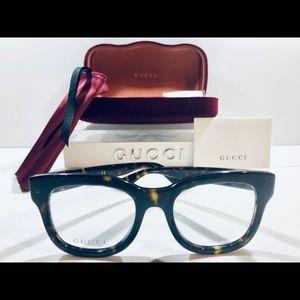 Gucci Women's Eyeglasses Dark Havana Brown New 50